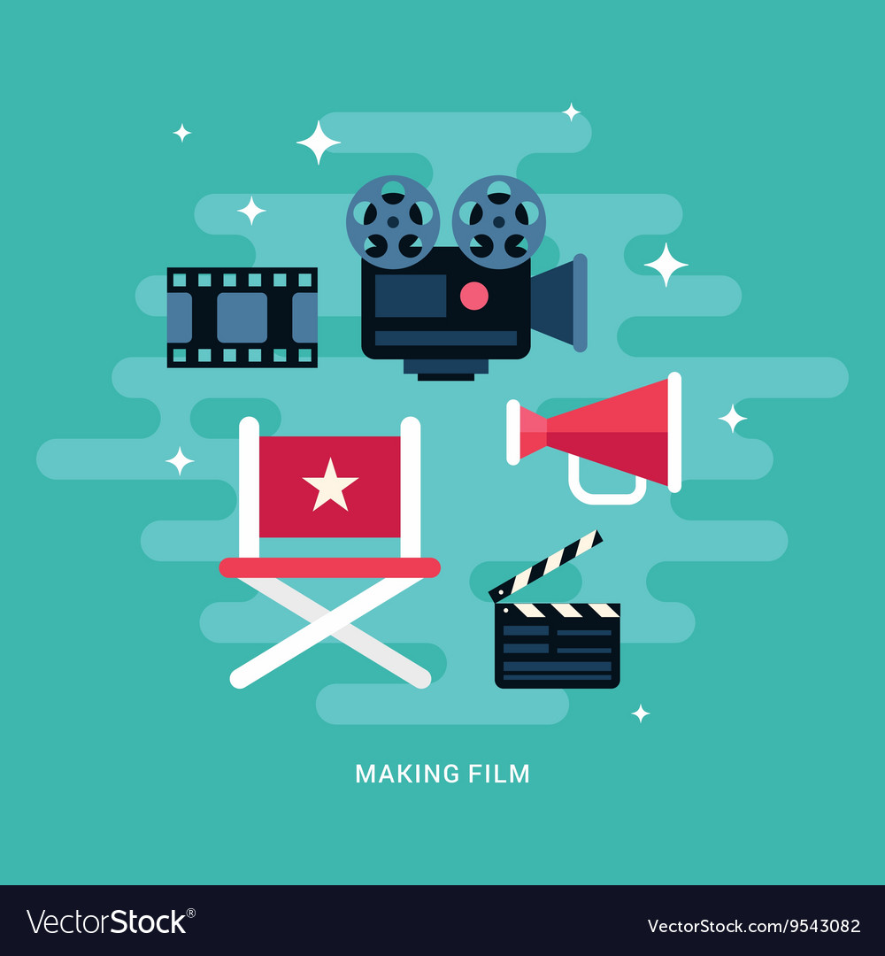 Making Film Concept Set of Flat Style Icons vector image