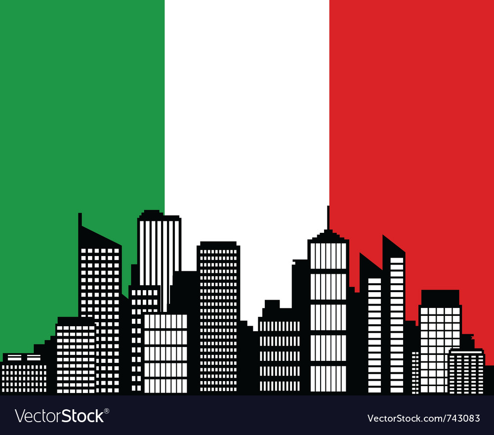 City and flag of italy vector image