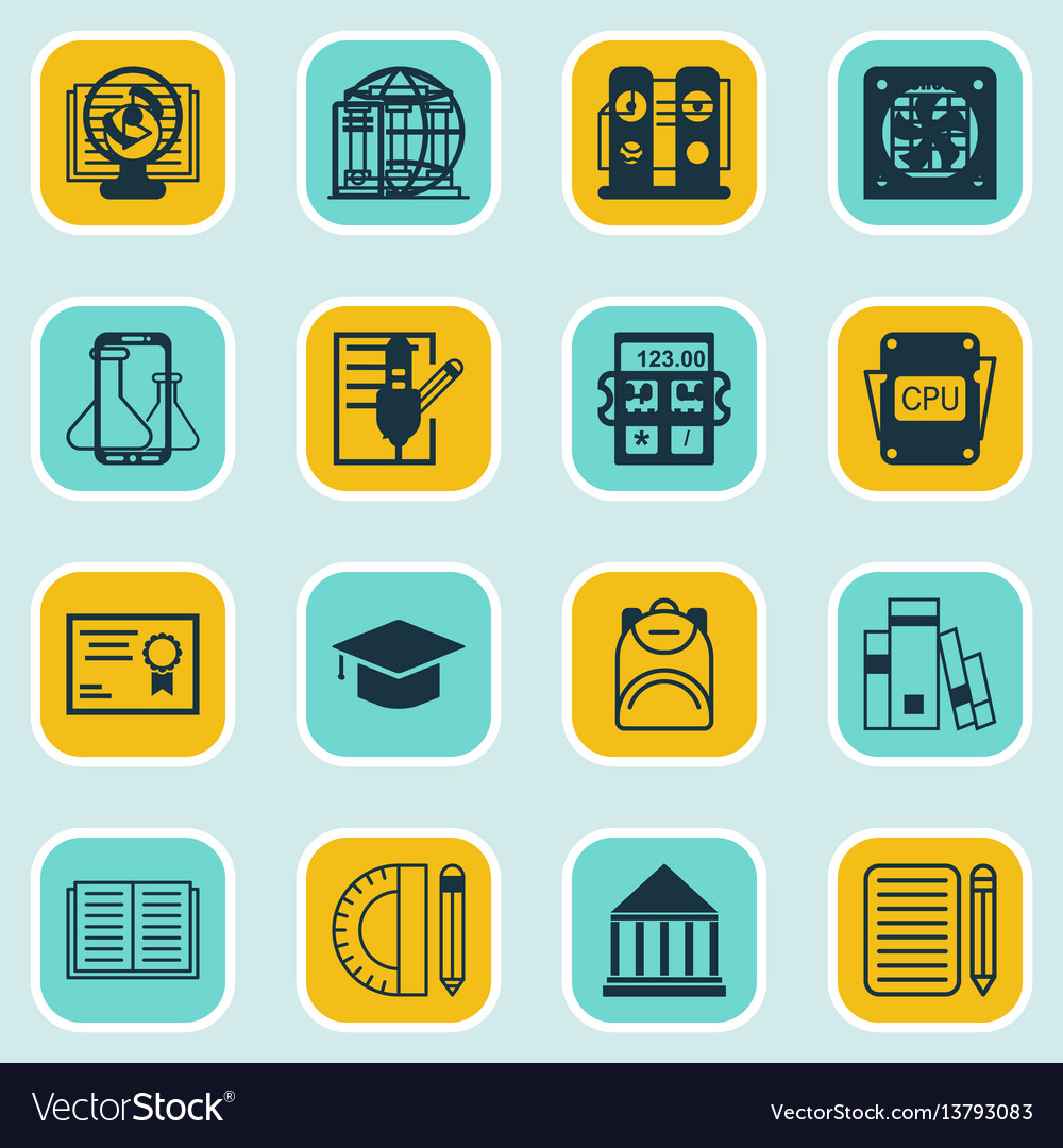 Set of 16 education icons includes academy vector image