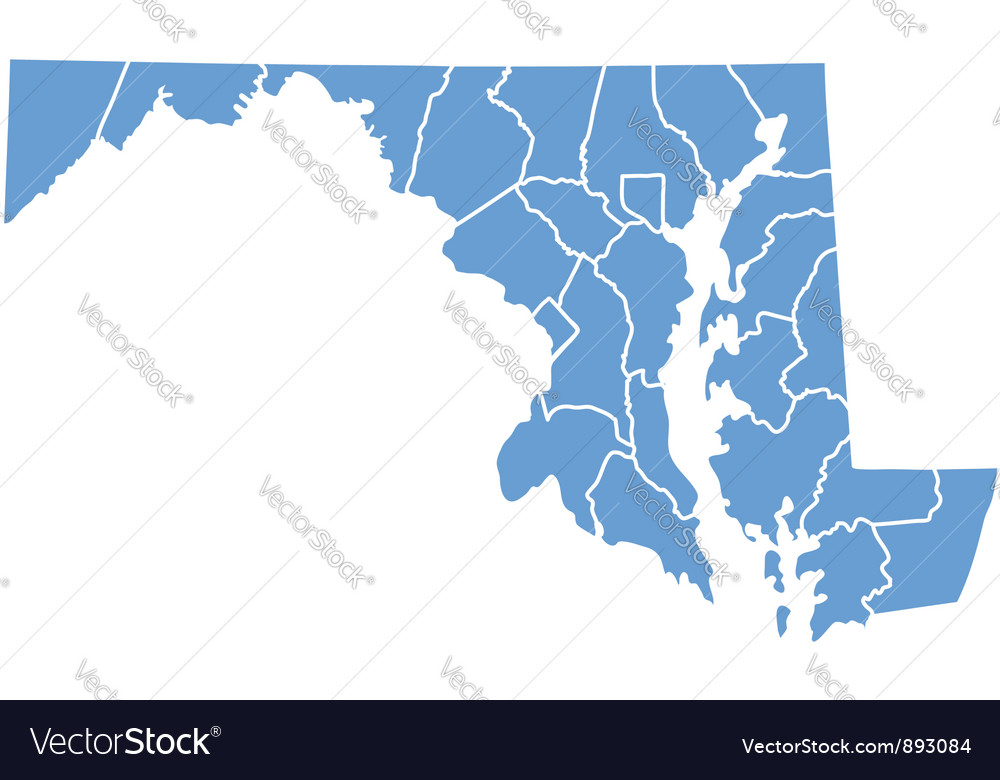 State map of Maryland by counties vector image