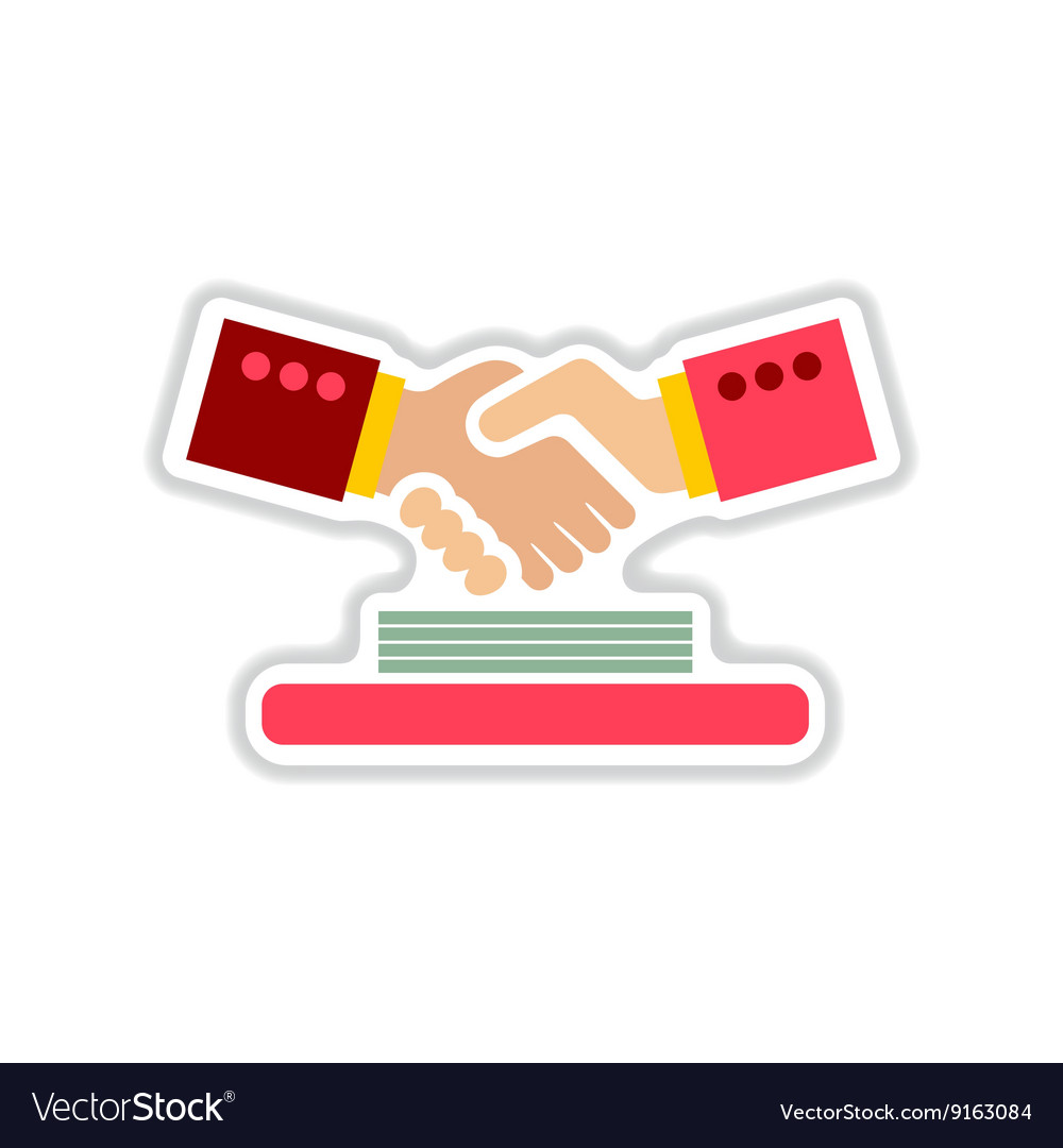 Paper sticker on the white background handshake