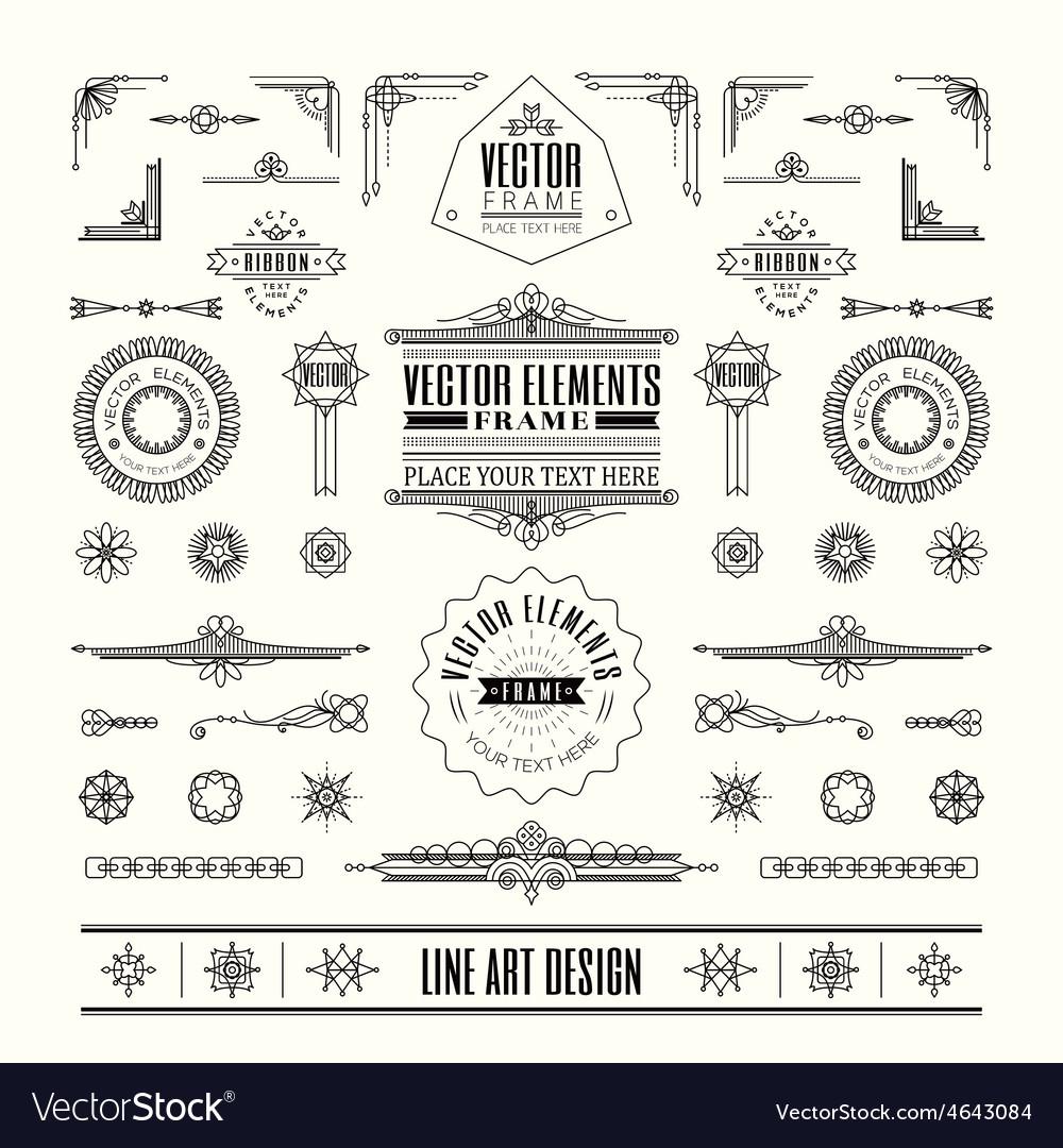 Line art deco retro vintage frame design elements vector image