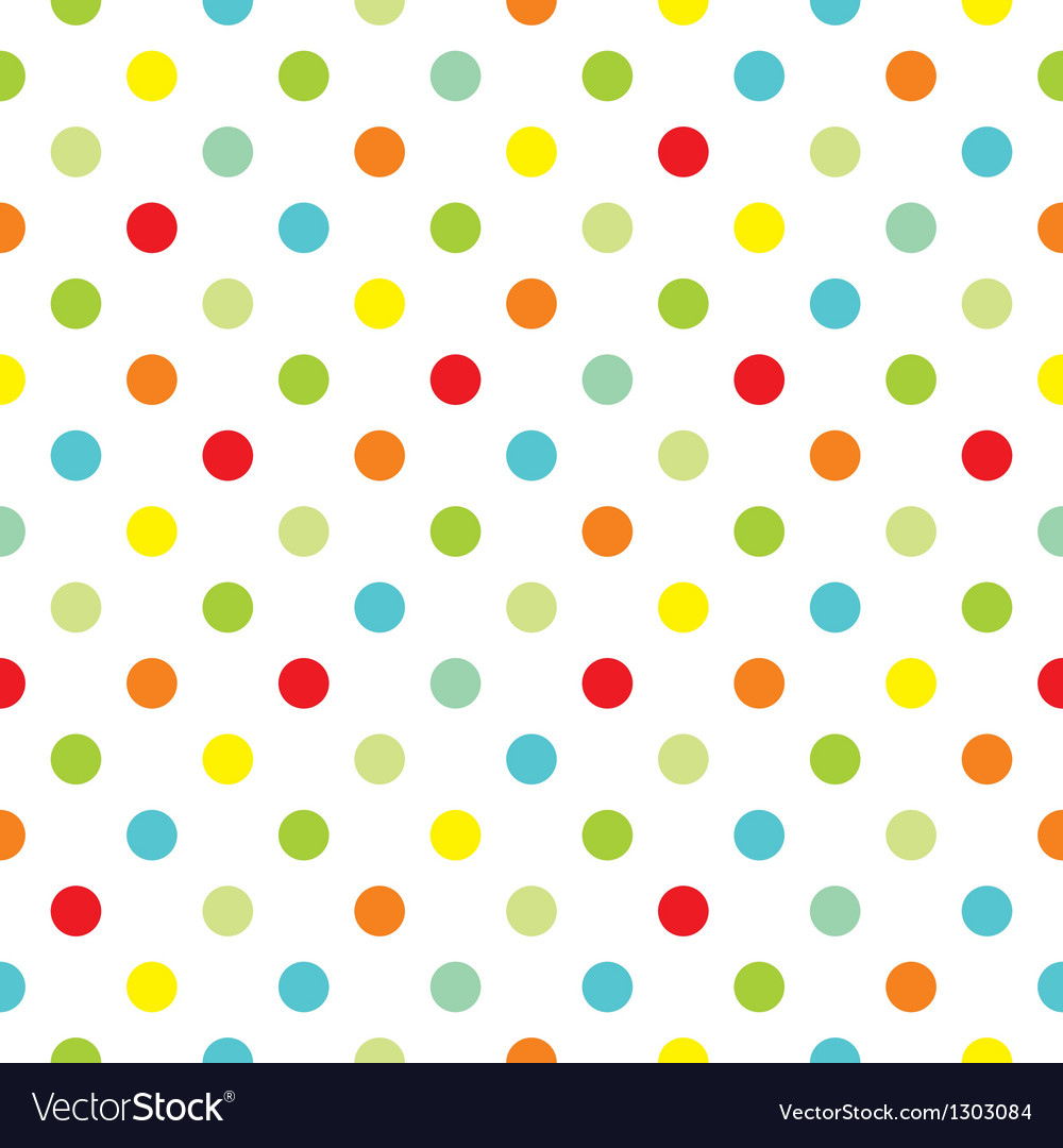 Pattern with colorful polka dots white background vector image