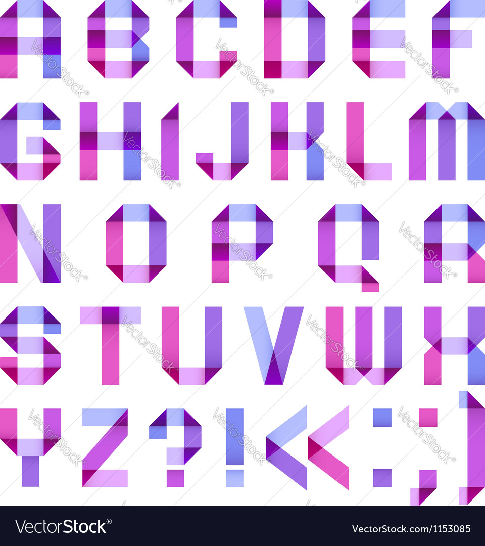 Spectral letters folded of paper ribbon-purple vector image