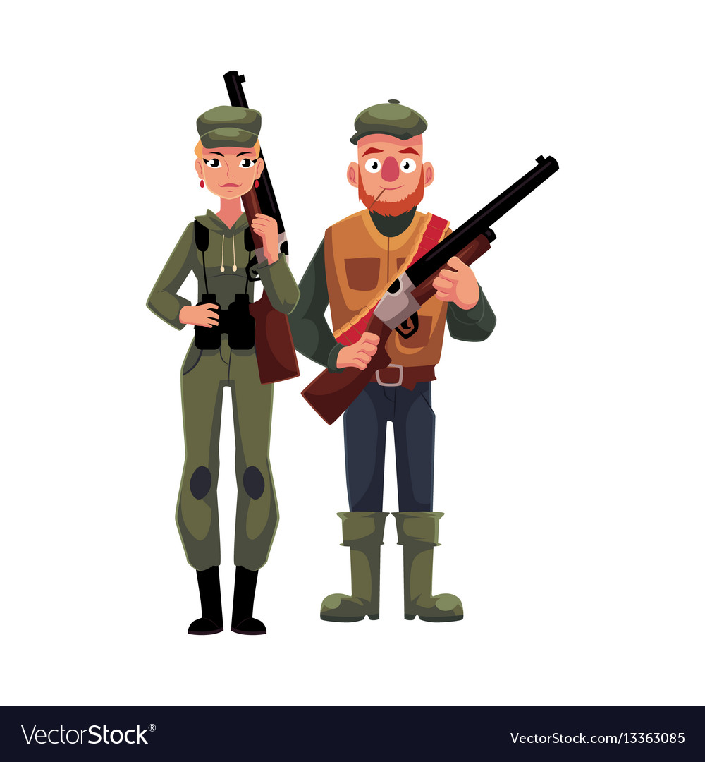 Two typical hunters male and female standing vector image