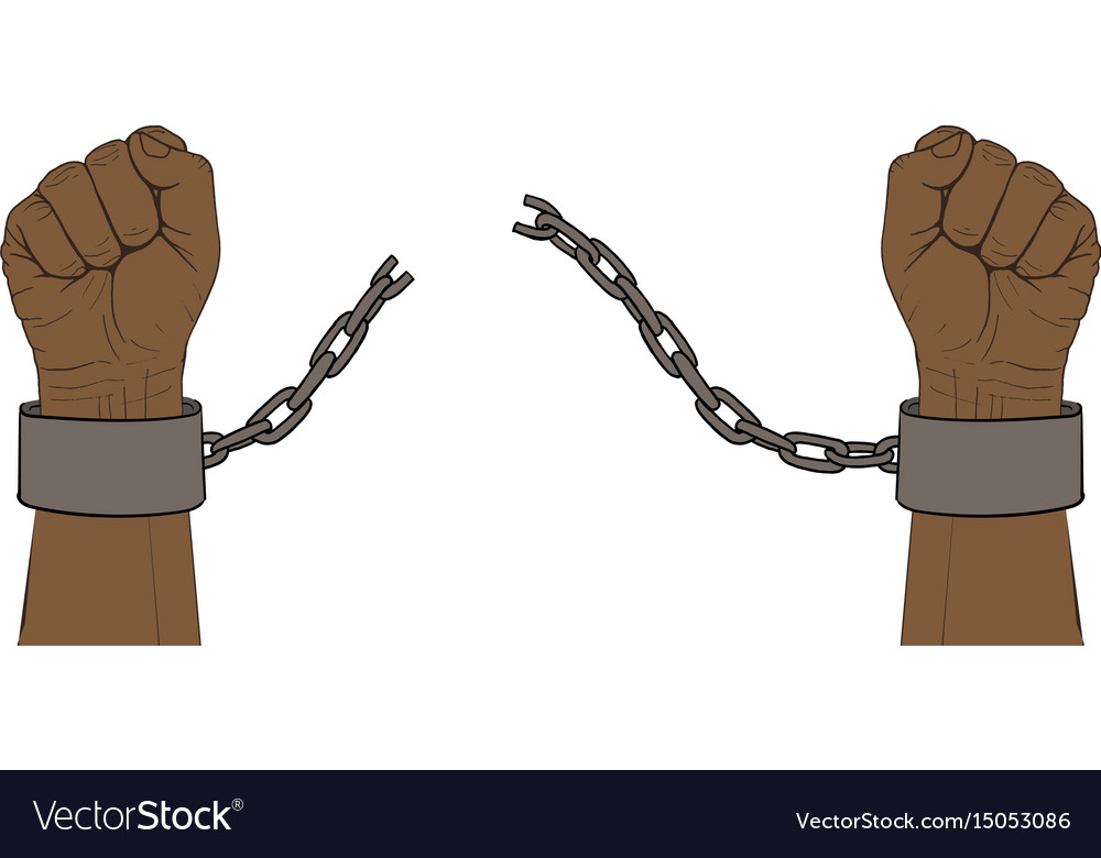 Hands with broken chain vector image