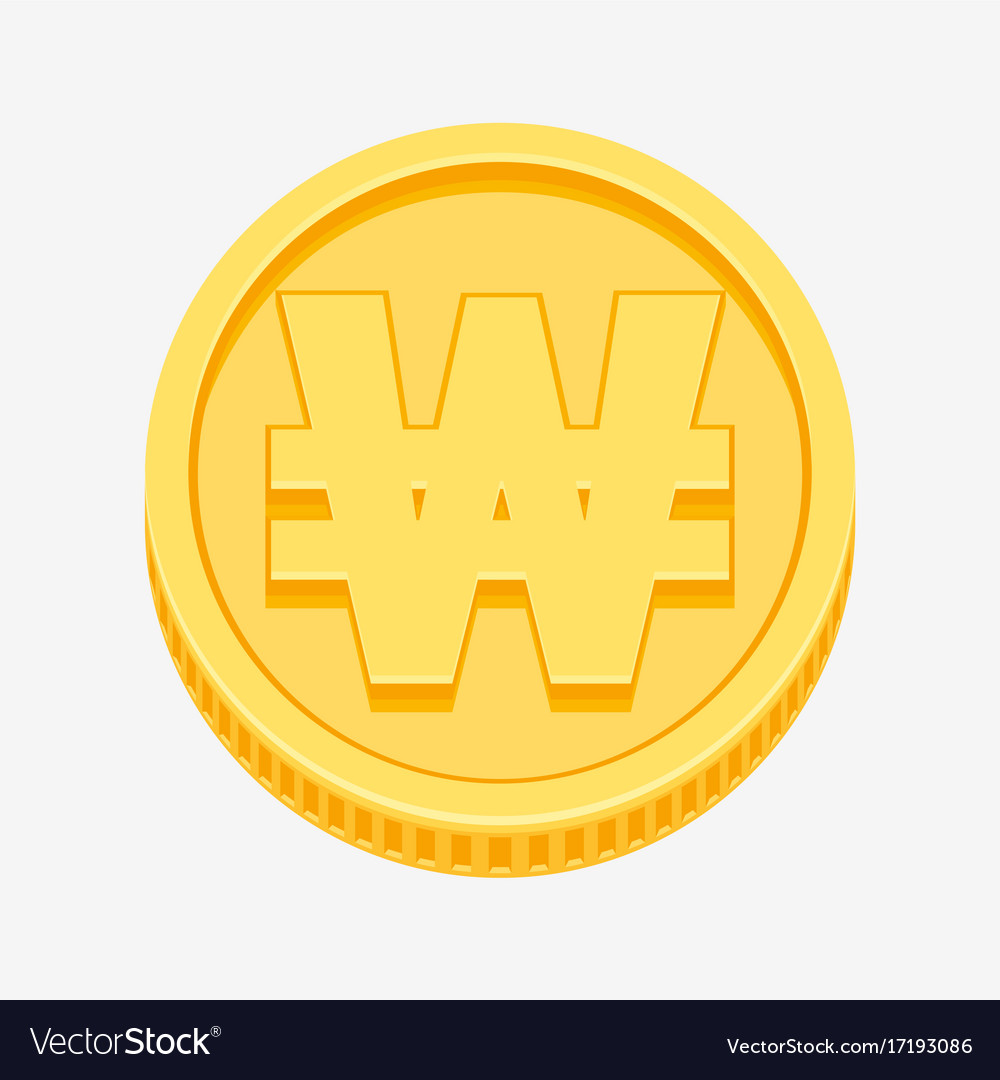 Korean won currency symbol on gold coin royalty free vector korean won currency symbol on gold coin vector image buycottarizona
