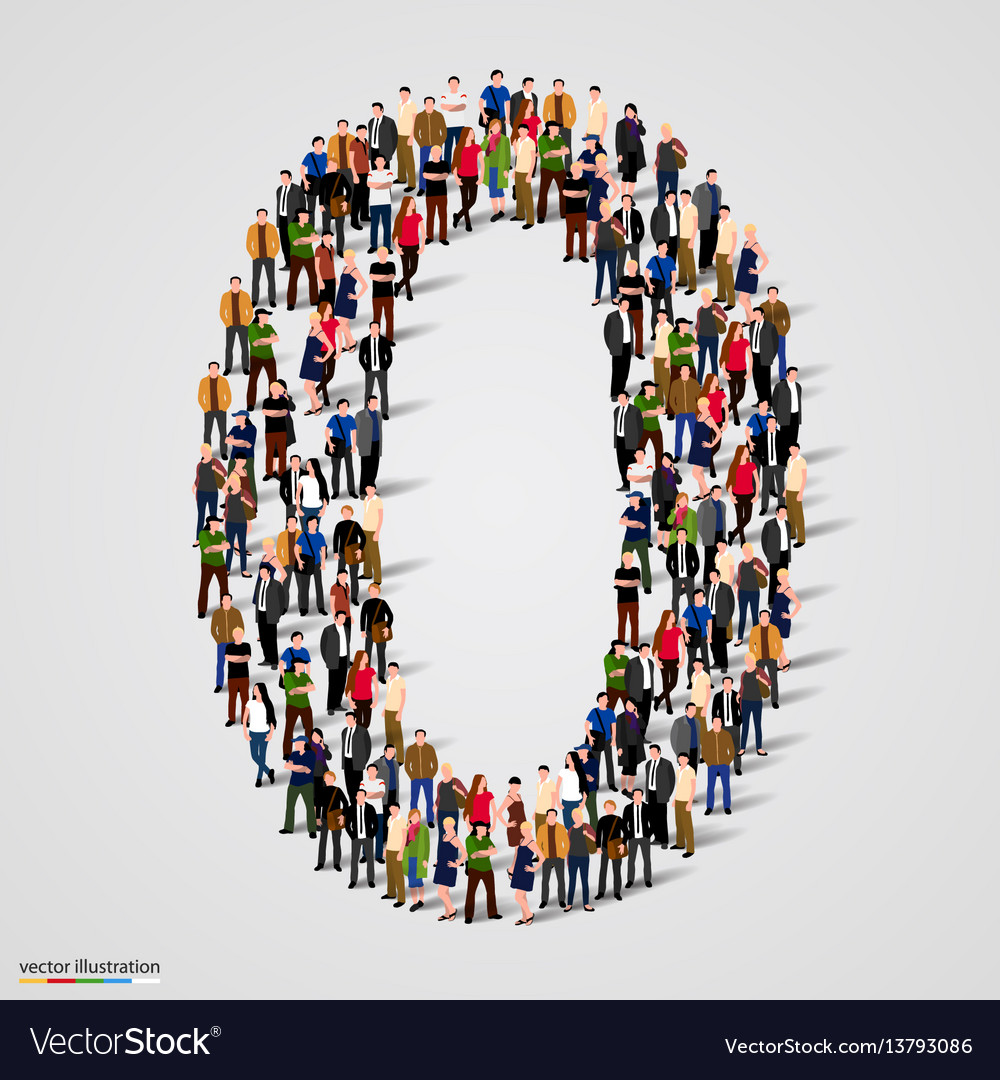 Large group of people in number 0 zero form Vector Image