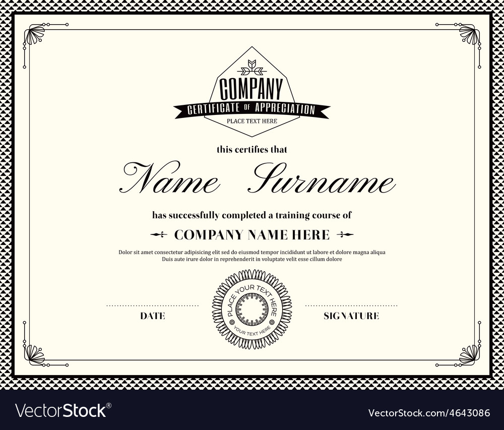 Retro frame certificate design template royalty free vector retro frame certificate design template vector image yadclub Images