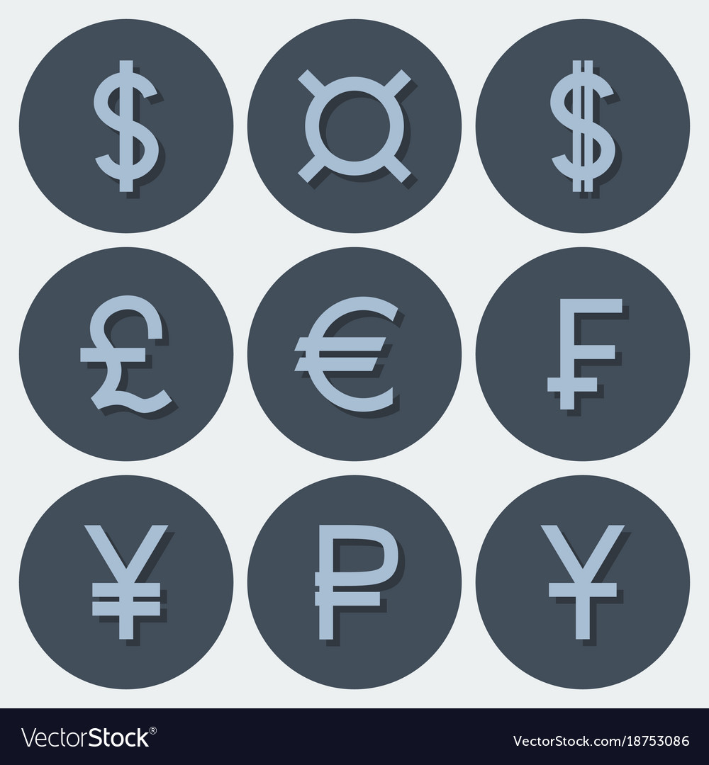 Set of icons with different currency symbols vector image buycottarizona Image collections