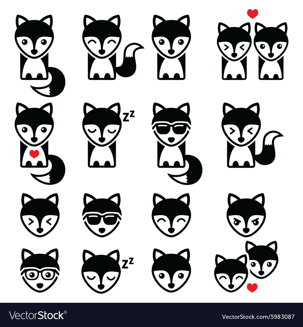 Fox cute character icons wildlife concept vector image