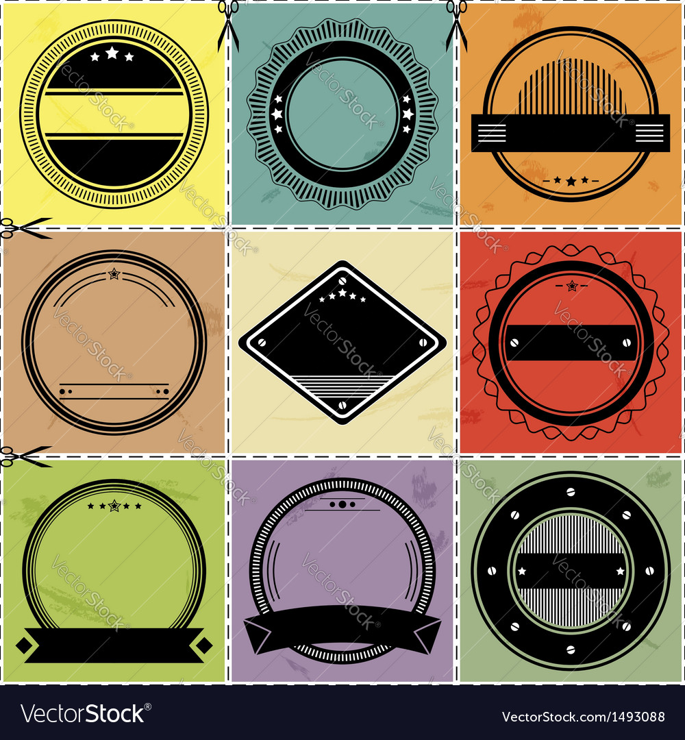 Set of nine blanc labels with retro styled design vector image