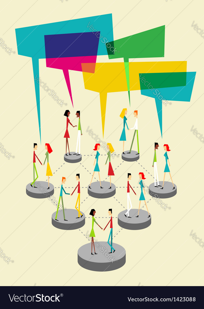 Social people balloon interaction vector image