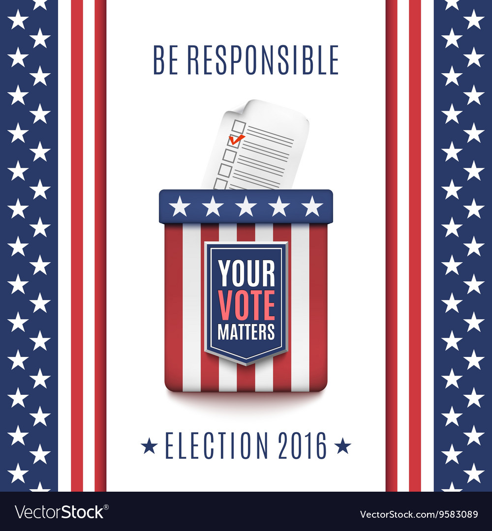 American Election 2016 background with Ballot box vector image