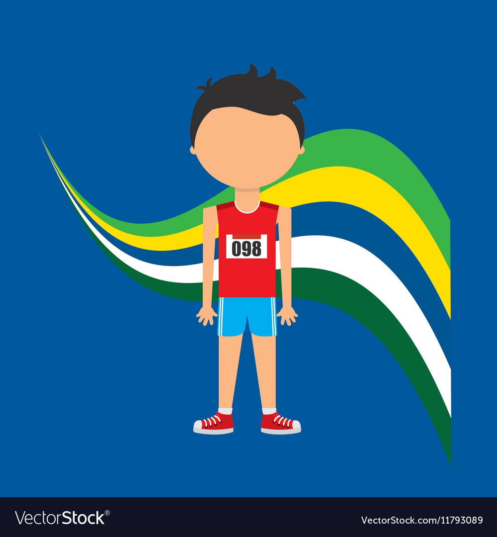 Cartoon athletics player brazilian label vector image