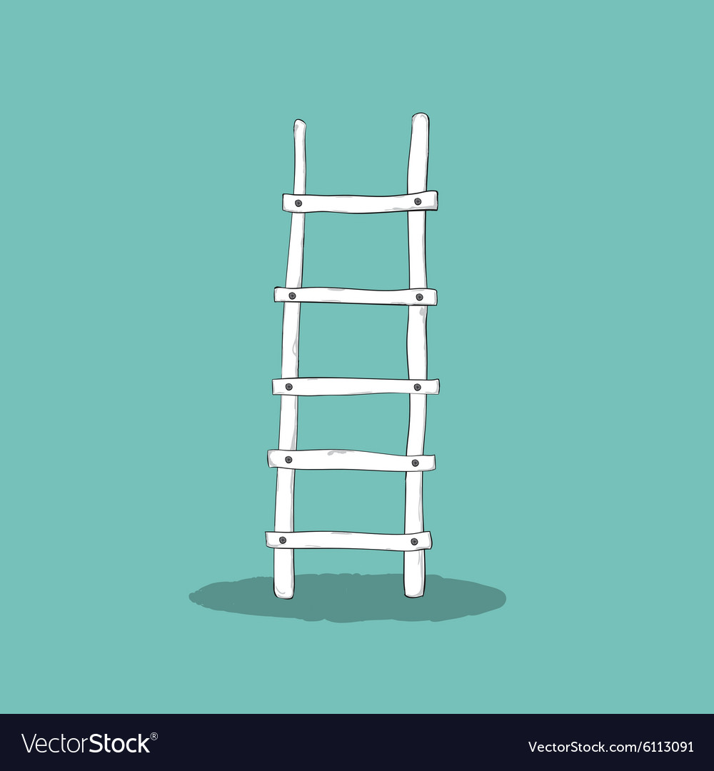 An of a wooden ladder Cartoon drawing by hand vector image