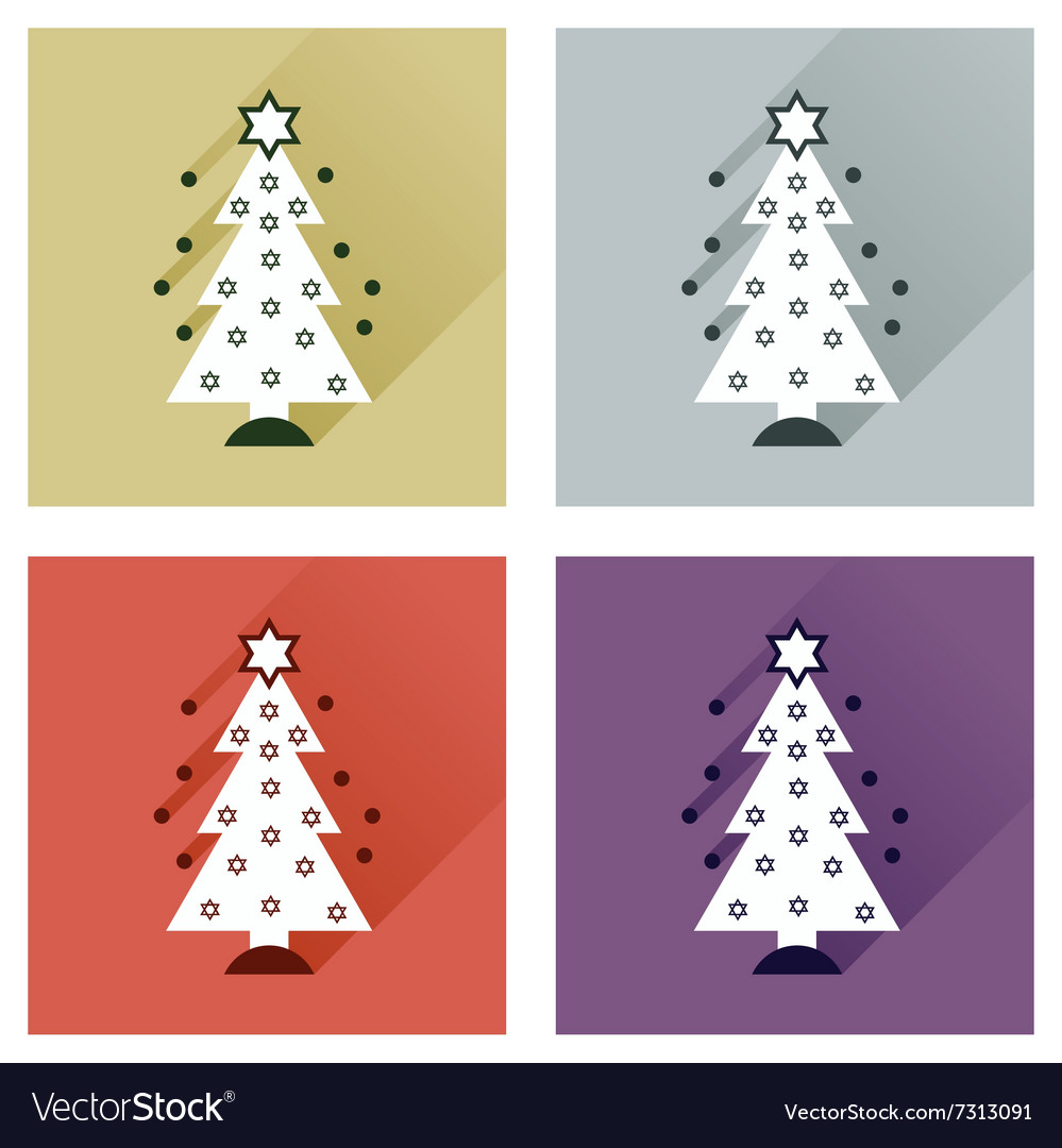 Concept of flat icons with long shadow Hanukkah