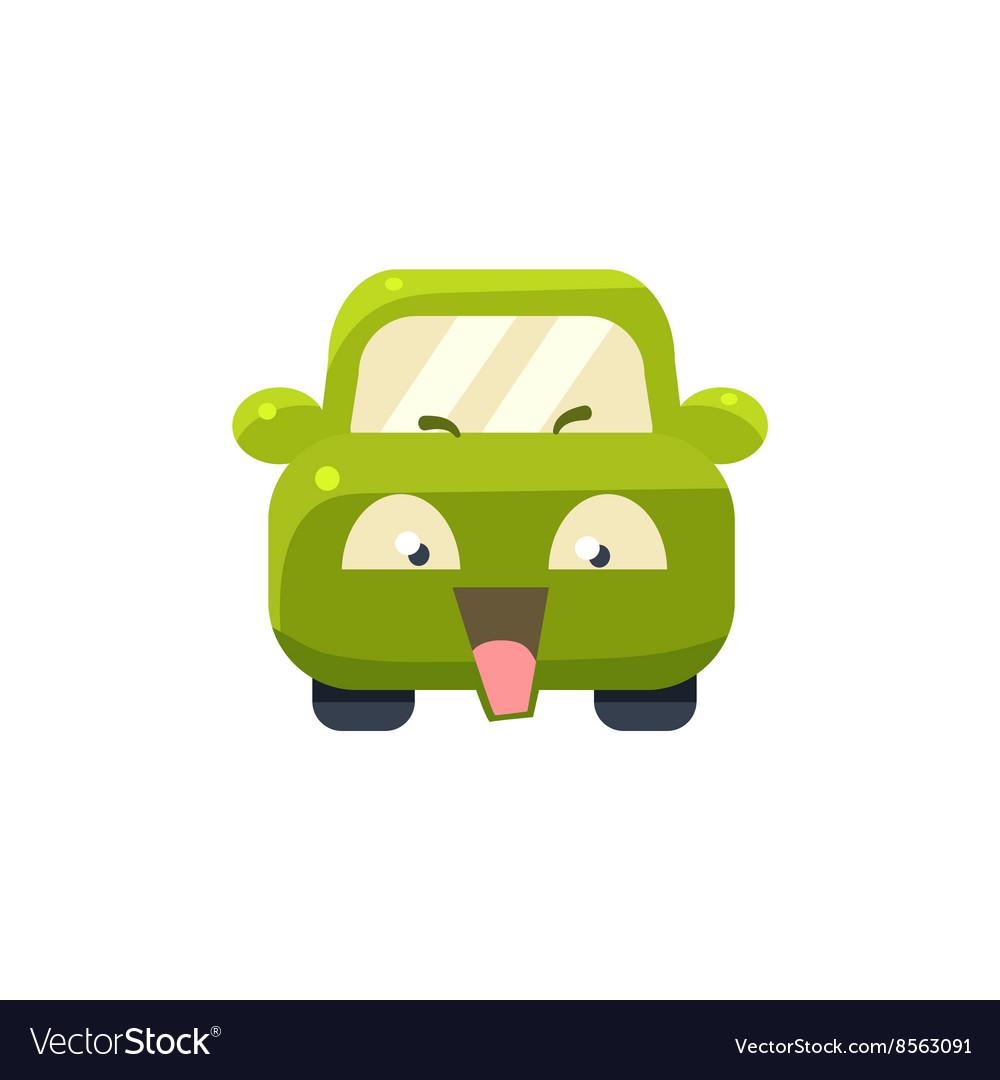 NAughty Green Car Emoji vector image