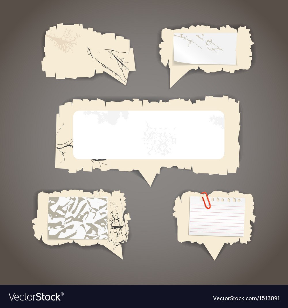 Scratched paper speech clouds vector image
