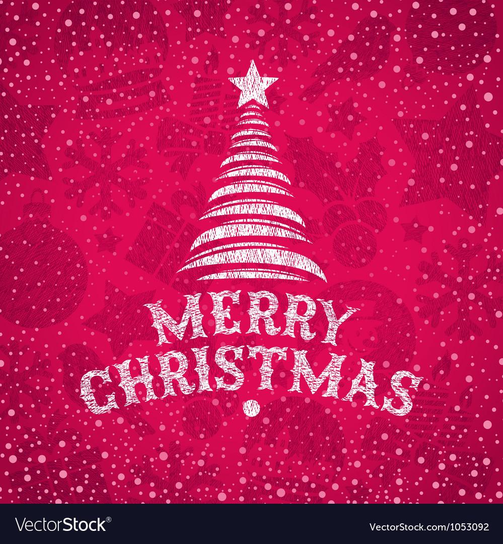Hand drawn Christmas greeting vector image