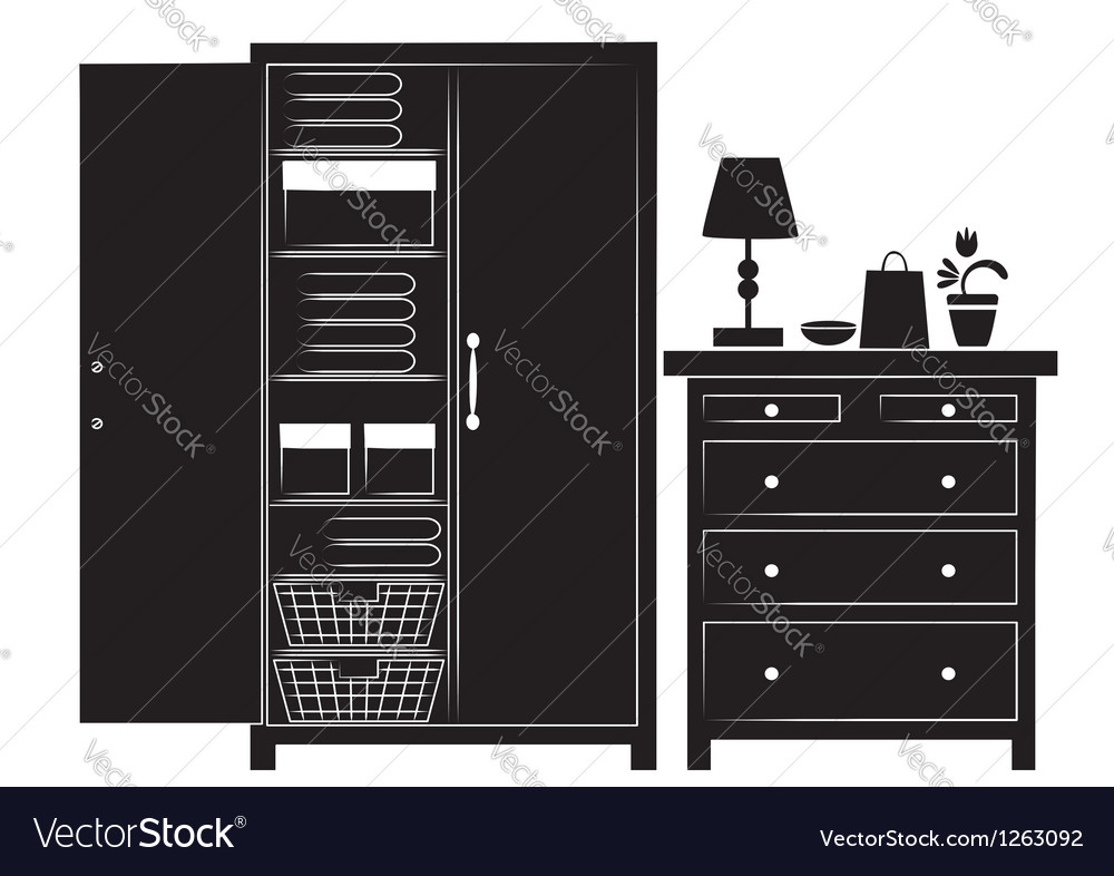 Silhouette of cupboard and chest of drawers vector image