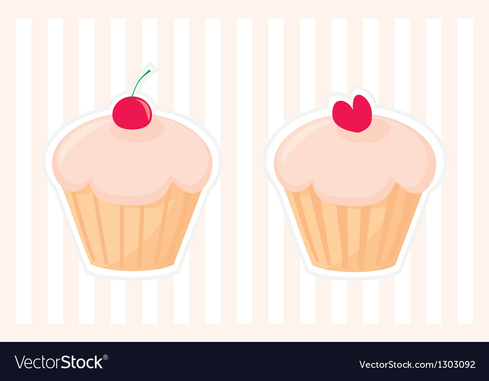 Sweet retro muffin cupcakes silhouettes vector image