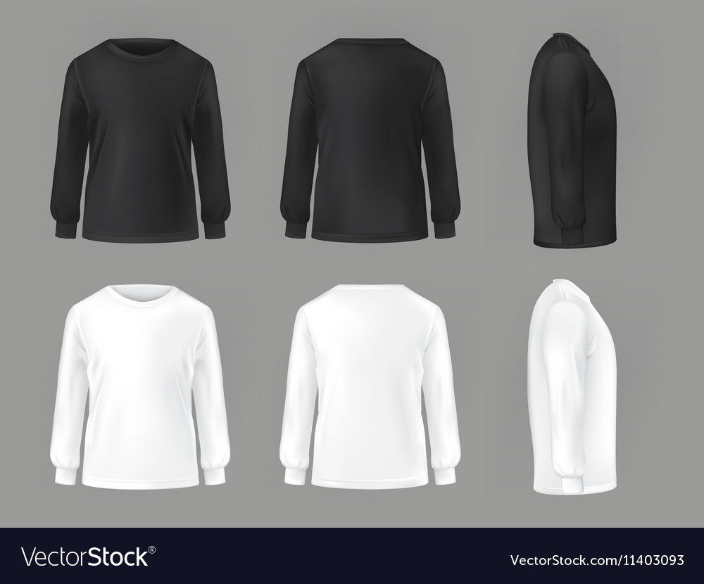 Set template of male T-shirts with long vector image