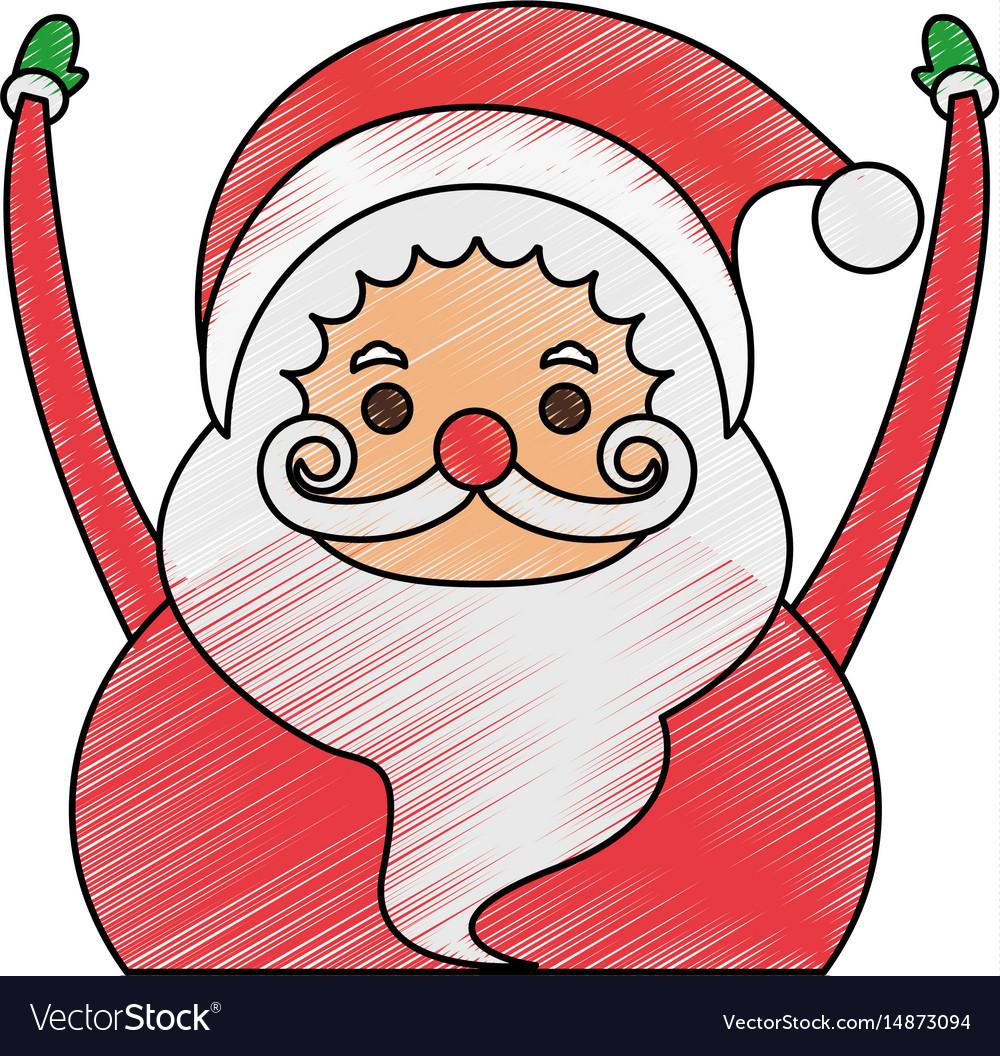 color pencil cartoon half body fat santa claus vector image - Pictures Of Santa Claus To Color