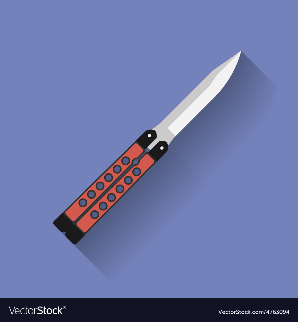 Icon of butterfly knife or balisong Flat style vector image