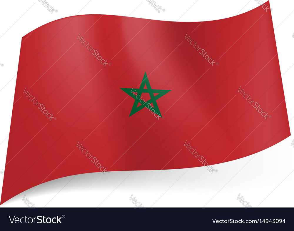 National flag of morocco green star in center of vector image