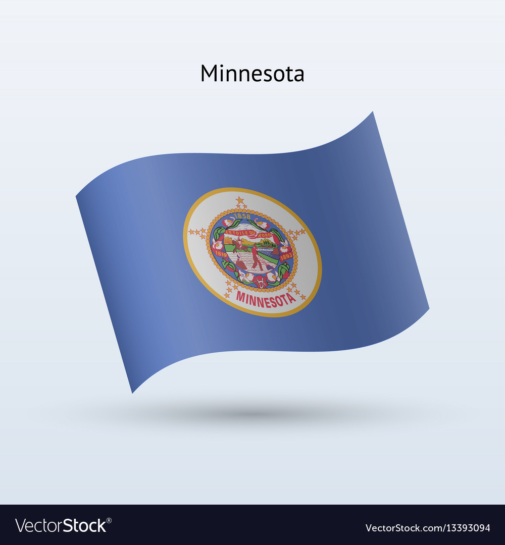 State of minnesota flag waving form vector image