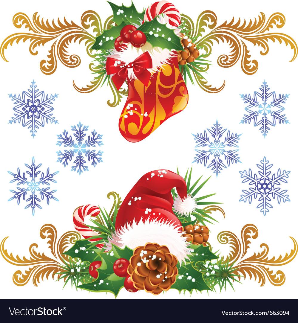 Stocking santa vector image