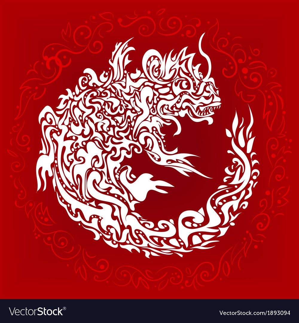 Stylized twisted dragon tattoo vector image