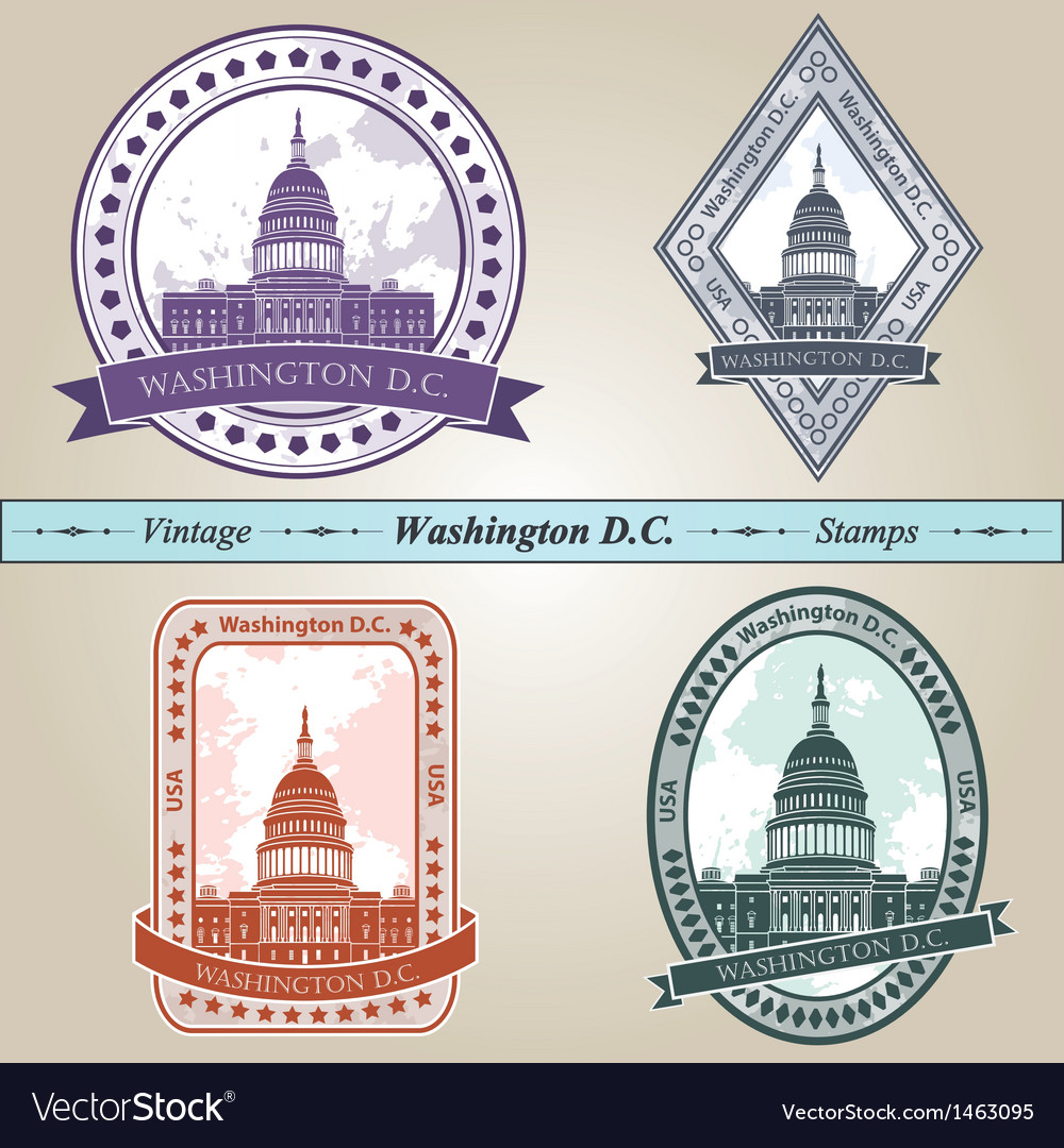 Vintage stamp Washington DC vector image