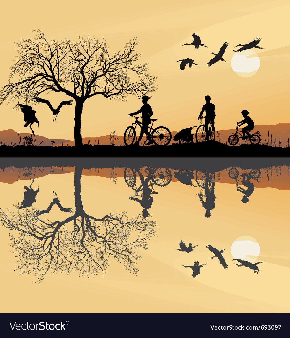 Family trip to bike vector image