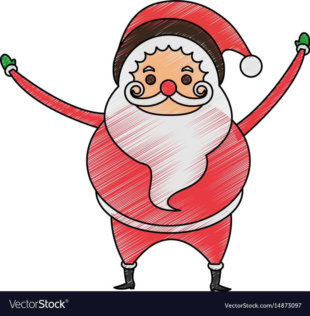 color pencil cartoon full body fat santa claus vector image - Pictures Of Santa Claus To Color
