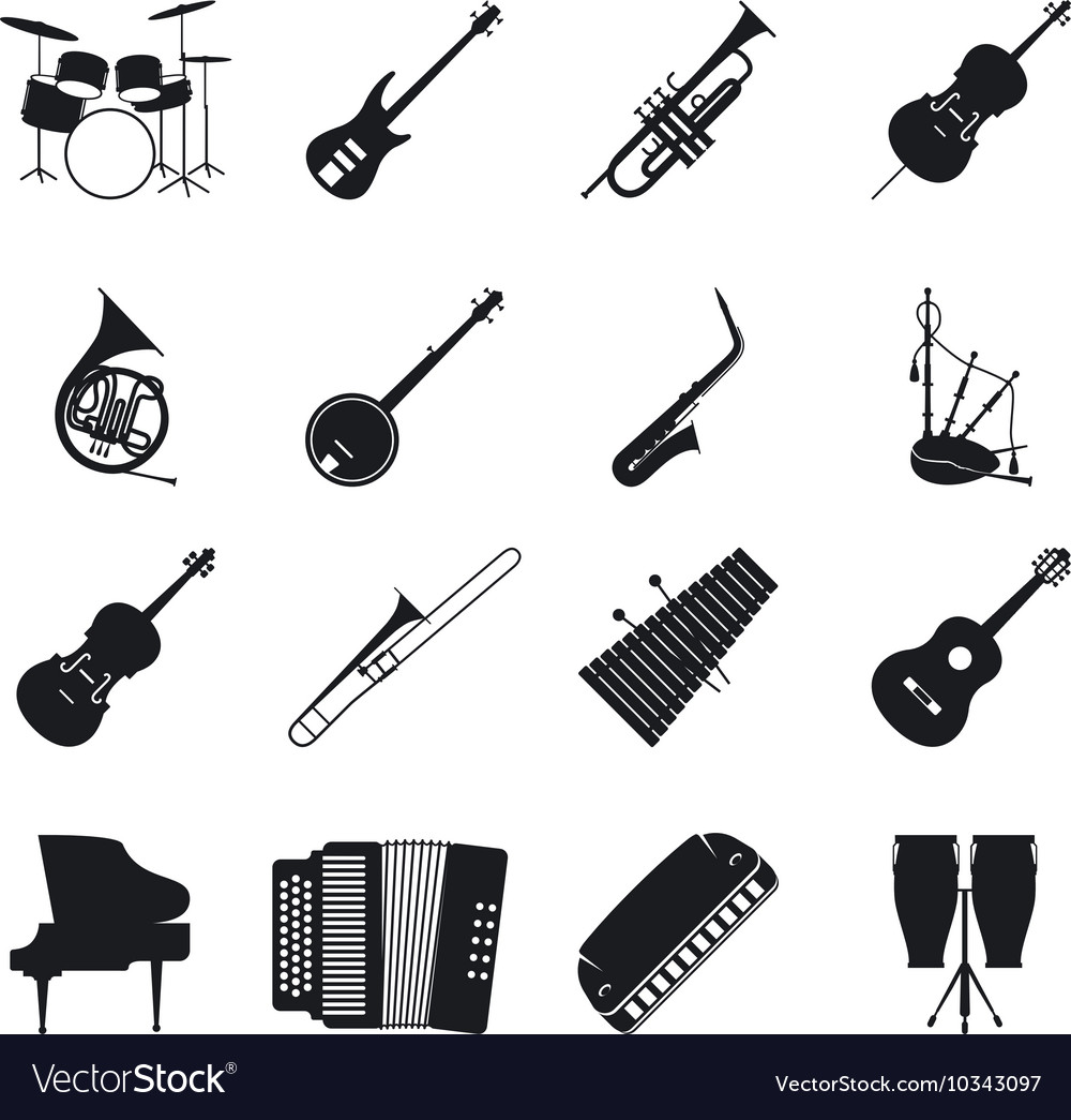 Jazz musical instrument silhouettes vector image