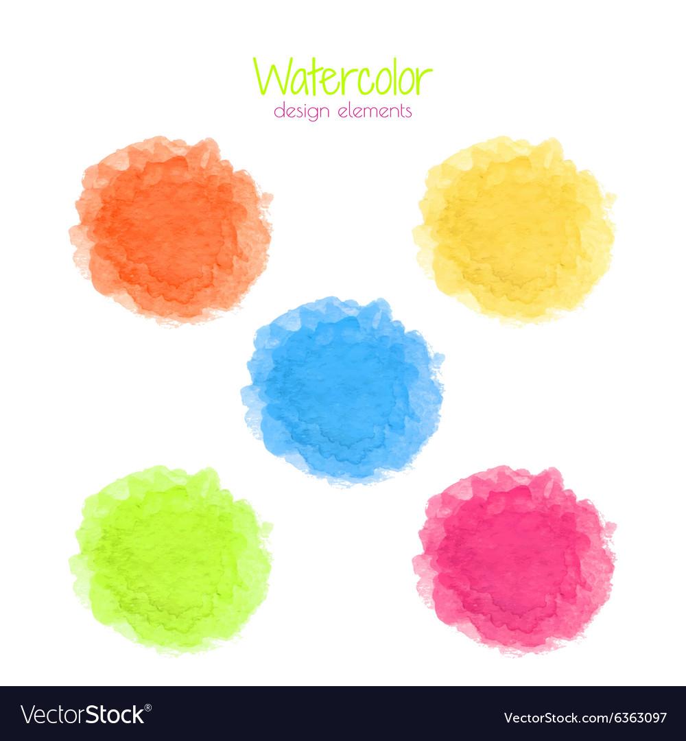 Watercolor rainbow spots set vector image