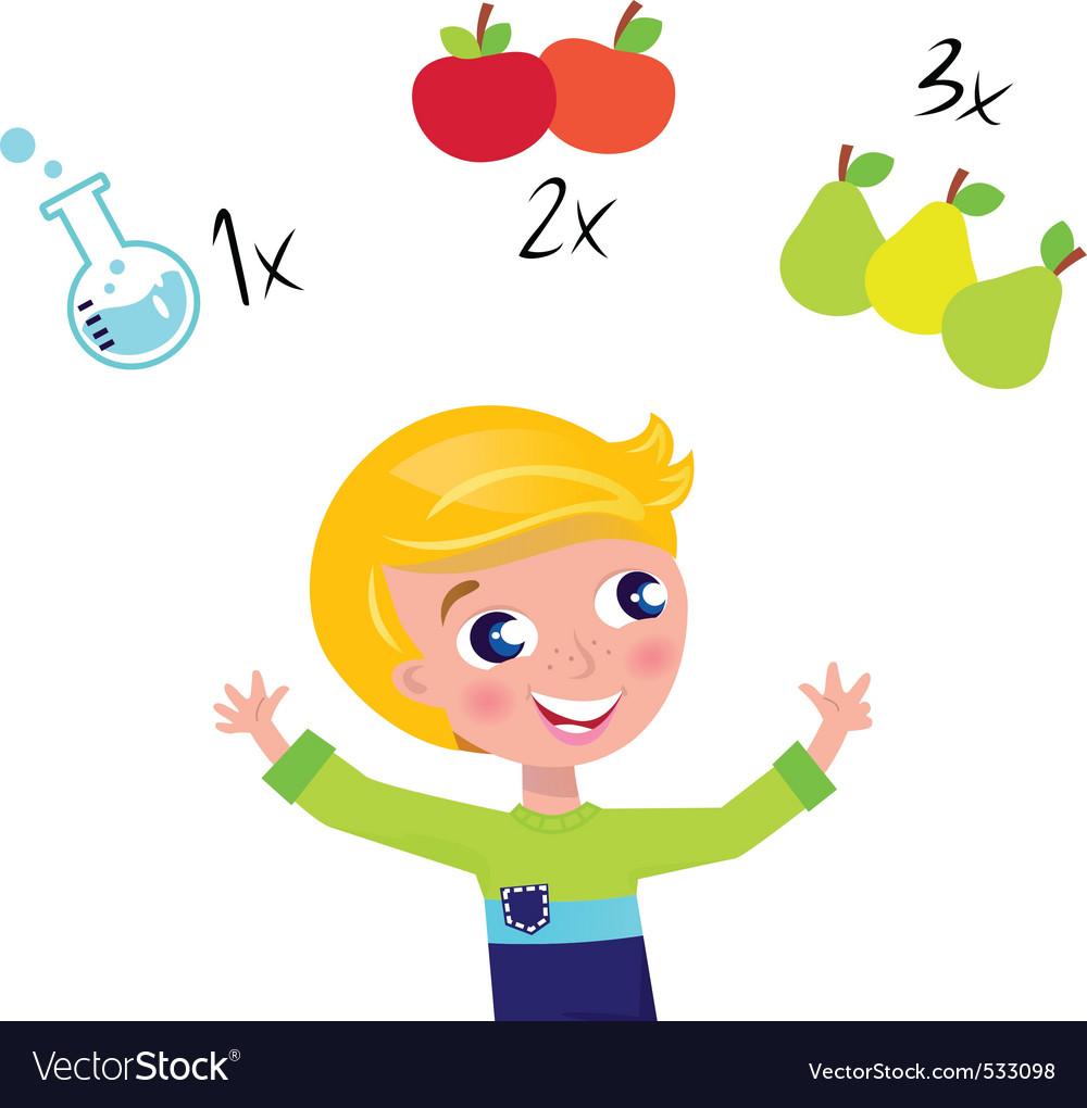 Cute boy learning math vector image