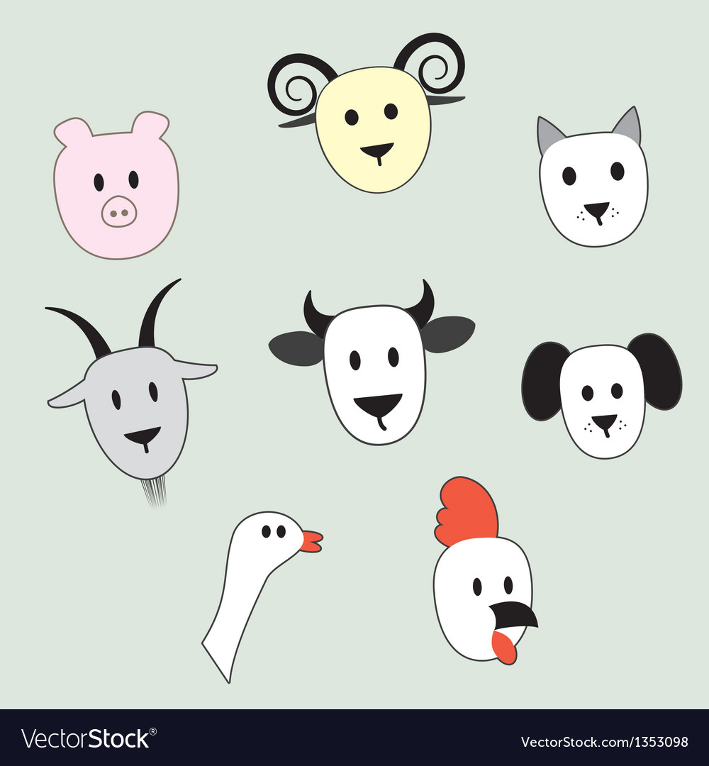 Faces of animals vector image