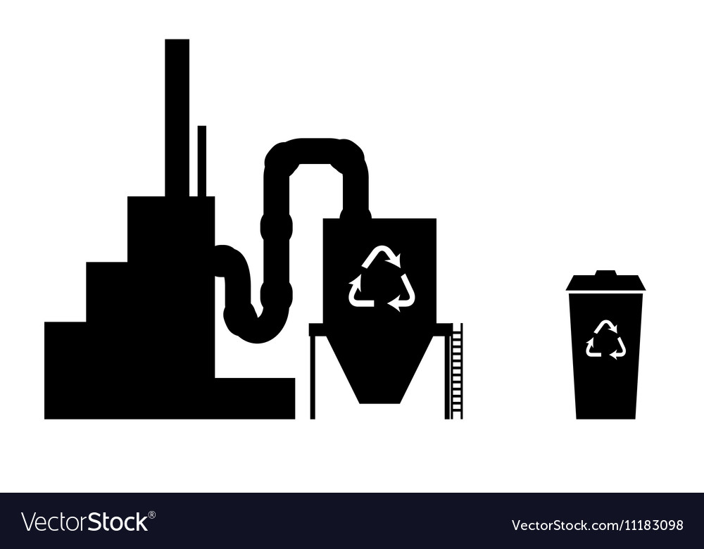 Industry icon silhouette recycling plant vector image