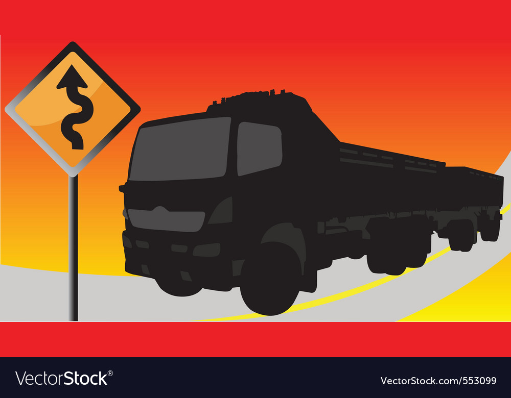 Black truck on the road with signs vector image
