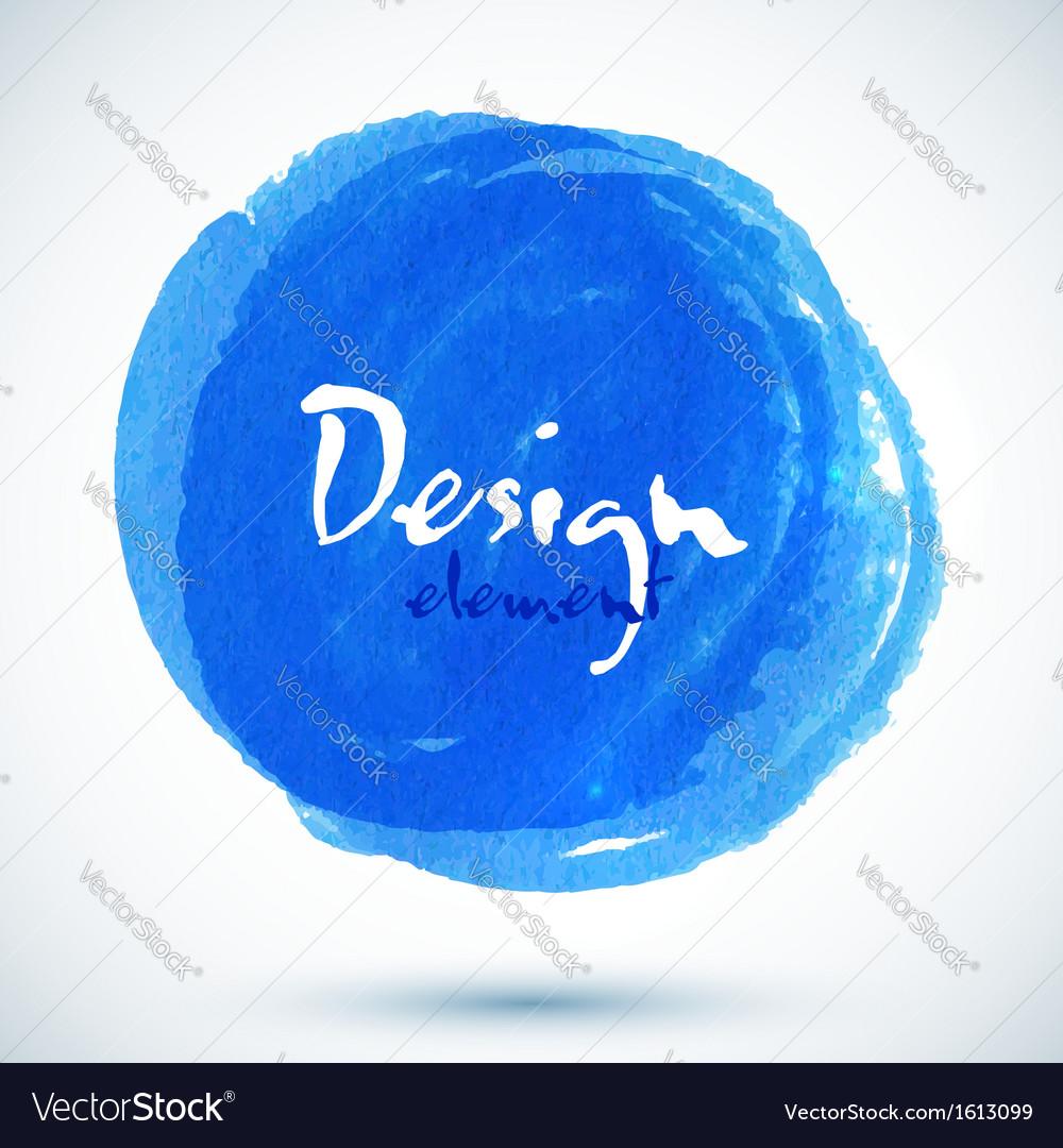 Bright blue watercolor circle vector image