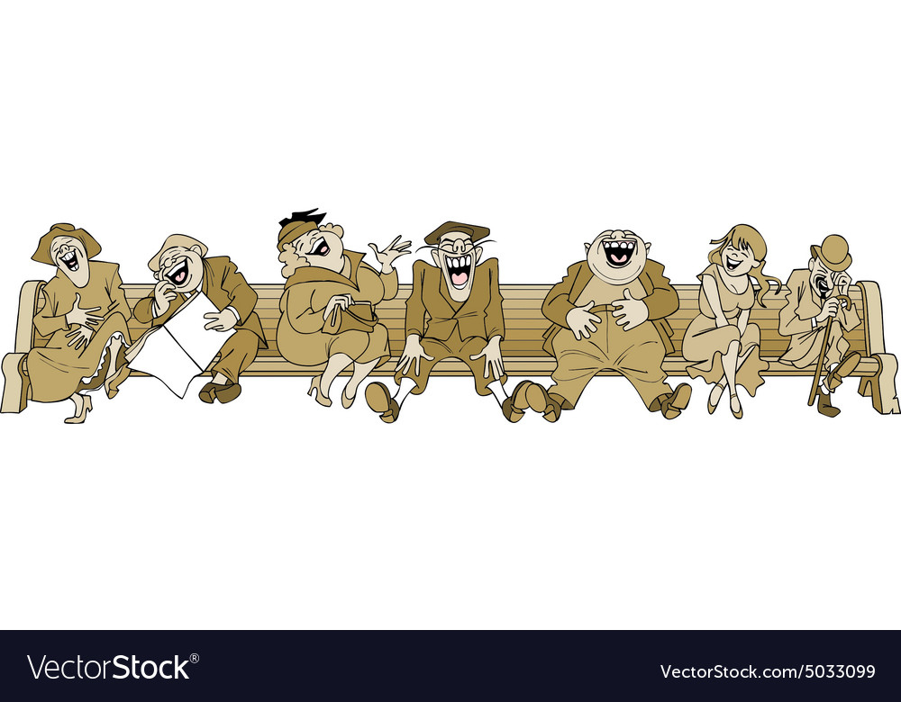 Cartoon people laugh sitting on a bench vector image