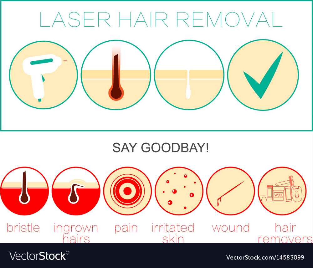 Laser hair removal icon depilation and epilation vector image pooptronica Choice Image