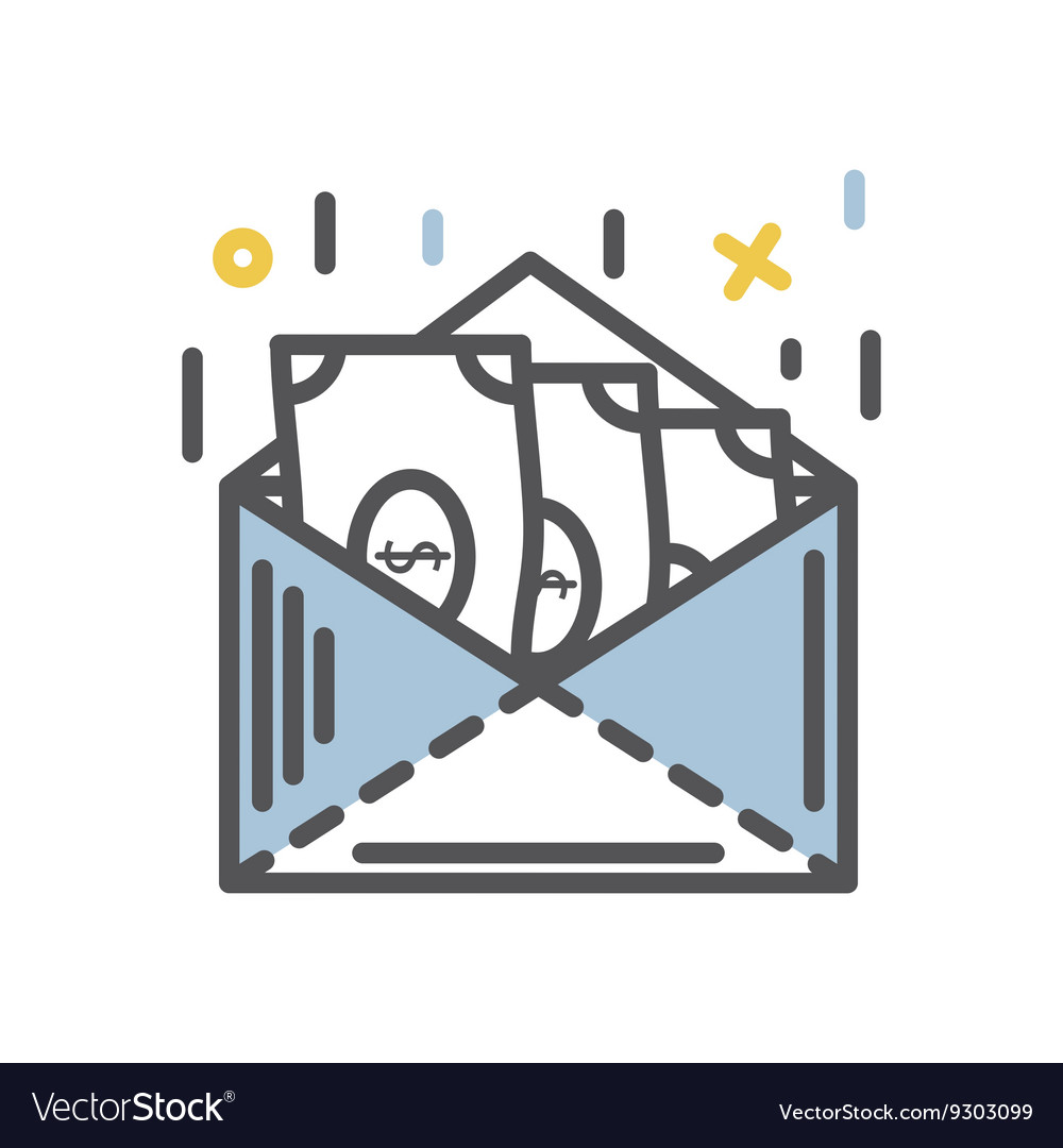 Money in a latter isolated vector image
