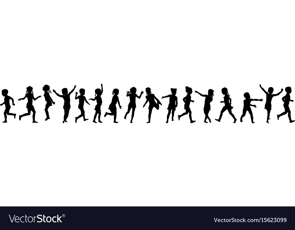 Seamless pattern silhouettes children jumping vector image