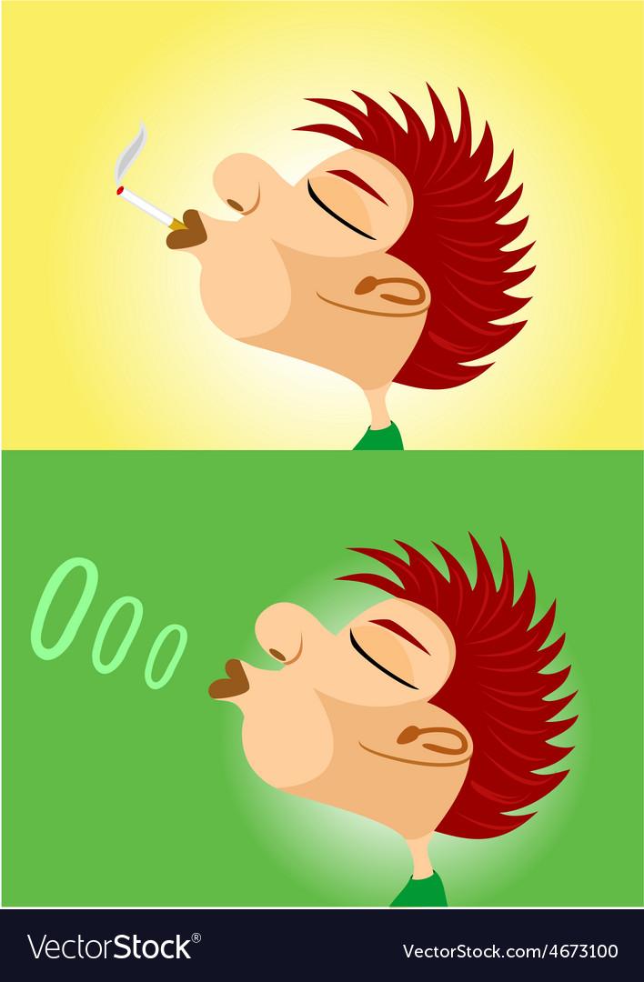Boy smoking cigarette vector image