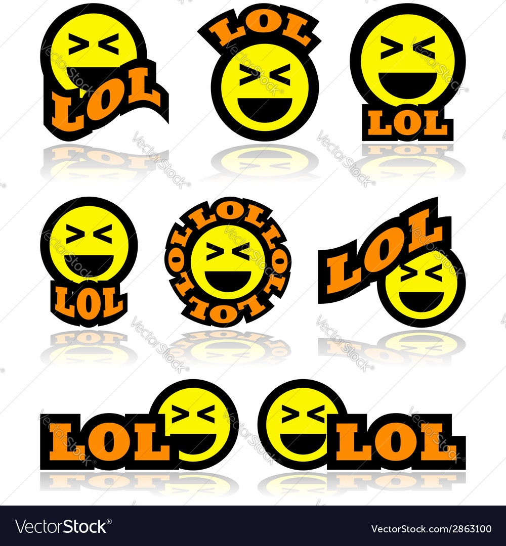 Laughing face icons vector image