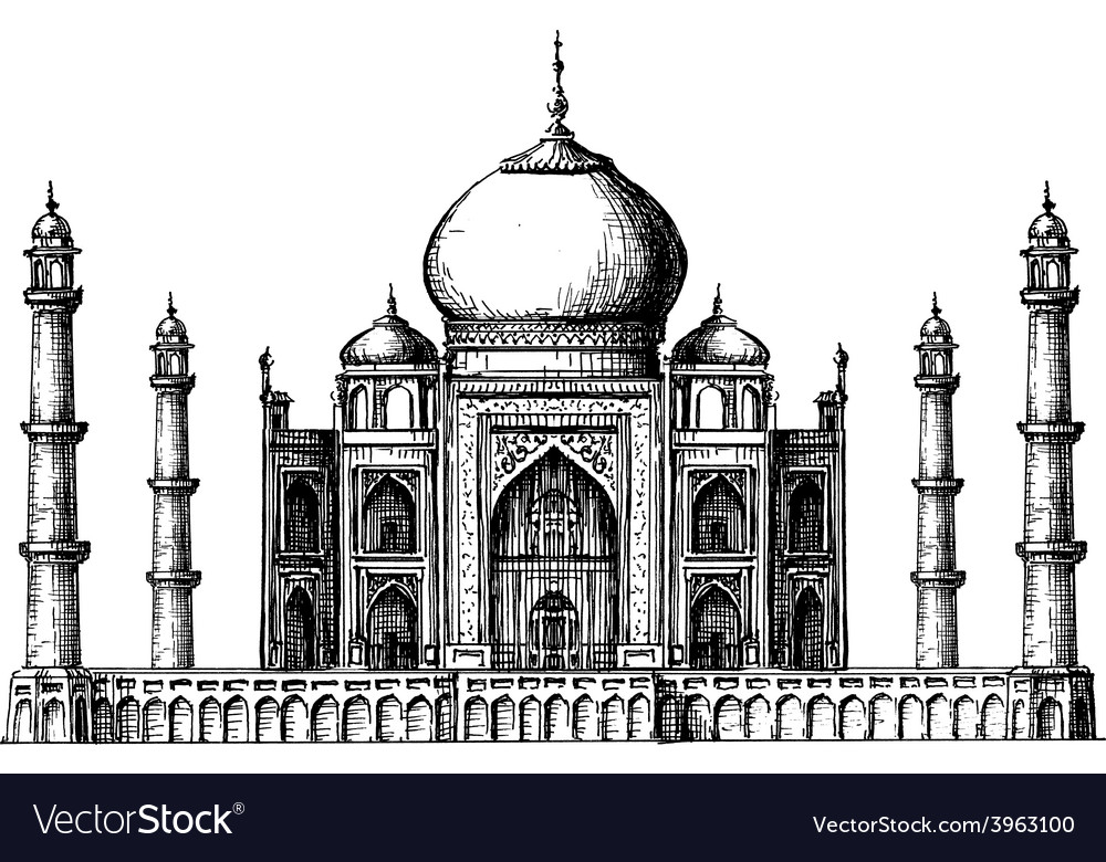Taj Mahal logo design template India or Hindu vector image